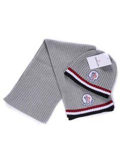 f546e270c9c Moncler Scarf  amp  Caps Pure Cotton Gray Warm Coat