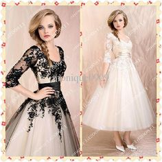 Wholesale 2013sexy V neck white black appliques lace long sleeves tulle ankle length bridesmaid dresses, Free shipping, $142.05/Piece | DHgate