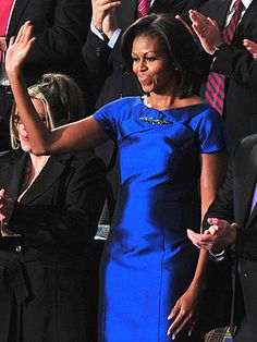 Nothing says State of the Union like a bright blue satin dress. Barbara Tfank $700