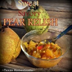 I'm not typically a fan of Sweet & Savory but when you combine pears with onions, peppers and mustard? Check out my Pear Relish. Pear Jelly Recipes, Relish Recipes, Canning Recipes, Sauce Recipes, Gourmet Recipes, Gourmet Foods, Recipe For Pear Relish, Pear Sauce, Pickle Relish