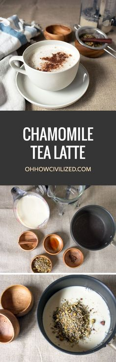 Chamomile Tea Latte *Try almond or coconut milk in place of the dairy! Yummy Drinks, Healthy Drinks, Yummy Food, Smoothies, Chocolate Caliente, Hot Chocolate, Espresso Machine, Chamomile Tea, Tea Latte