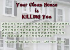 "your clean house is killing you - great free information on the chemicals in cleaning products, the cancers they are linked to and tips on how to make your own cleaners that actually work.  A life saver for sure.  ""Your Clean House is Killing You!"" You'll be shocked by the info here.  Comet has how many carcinogens in it?? wow..."