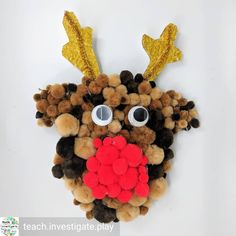 Pom pom reindeer from So, so cute! - Diy And Crafts Diy And Crafts, Crafts For Kids, Gingerbread Cookies, Reindeer, Play, Cute, Crafts For Children, Gingerbread Cupcakes, Kids Arts And Crafts