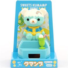 ice cream float bear solar powered bobble head toy from Japan 1