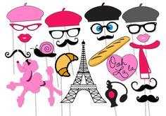 Paris Photo booth Party Props Set - 23 Piece PRINTABLE - French, Parisian, Ooh…