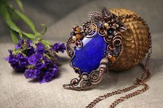 Blue Autumn Ocean pendant with lapis lazuli - Artistic Pendant - Copper wire-wrapped pendant with azure stone and pearls and gems (69.00 USD) by AnnTitovaDesign