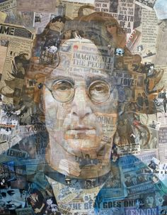 Mixed Media, Assemblage/ collage painting of John lennon by Antony Brown 2005 This would be a cool project, select someone famous to create a collage about then paint their portrait over the top of the collage