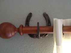 Handmade rustic Horseshoe Curtain Rod Hanger/Holder set. Comes with 2 rod holder and 2 curtain holders. $19.99. See more at TheHeritageForge.com!