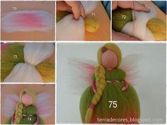 Felted Fairy Doll -- photos are fairly self-explanatory. TERRA DE CORES: Tutorial Nº 14 - Finalmente o tutorial das fadas ! Wool Dolls, Felt Dolls, Needle Felted, Nuno Felting, Fairy Crafts, Felt Crafts, Diy Laine, Felt Angel, Waldorf Crafts