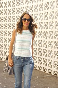 Light tweed shell fab found @marshalls styled with flare jeans. 70's style, weekend style
