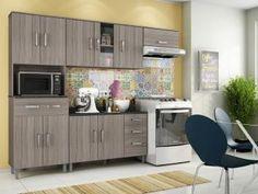 Cozinha Compacta Poliman Móveis Inovare Vitória - 8 Portas 1 Gaveta + Balcão 3 Portas 2 Gavetas