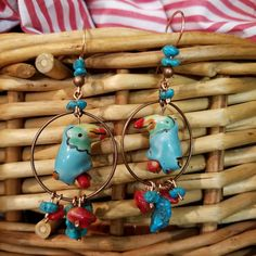 Ceramic Blue Tucan Parrot Bird Copper Hoop Earrings with Natural American Turquoise, Red Coral Dangles and French Style Handmade Earwires by MoondropsCreations on Etsy