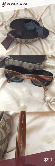 Coach L071 Darcy Sunglasses BLACK Excellent used condition. Gently used.  Polarized 55 17 135. Comes with original case Coach Accessories Sunglasses