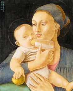 MADONNA NURSERING THE CHILD - Pittura,  40x50x1  ©2013 da Andrea Vandoni -                                                                                                                                                                                                                                                            Arte figurativa, Classicismo, Fotorealismo, Modernismo, Pittura contemporanea, Realismo, Ritrattistica, Legno, Bambini, Corpo, Cultura, Cultura popolare / celebrità…