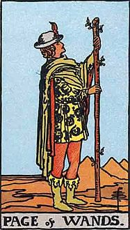 Tarot Card by Card: Page of Wands. The Page of Wands can represent a bright young person, good news, or a job opportunity. Tarot Significado, Page Of Wands, Owl Wings, Tarot Gratis, Tarot Learning, Tarot Card Meanings, Tarot Readers, Tarot Decks, Human Figures