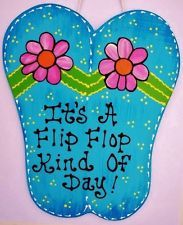 7x9 FLIP FLOPS Flip Flop Kind Of Day SIGN Tiki Bar Deck Pool Patio Wood Plaque