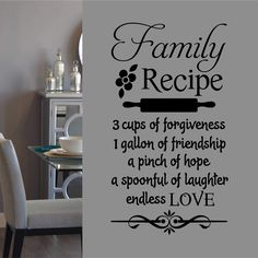 Farmhouse Kitchen Wall Decal Family Recipe Lettering - 40 h x 22 w / Pink
