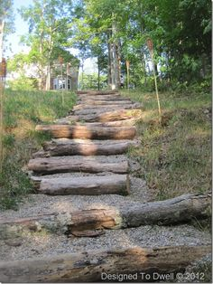 Natural Steps from fallen trees & pea gravel