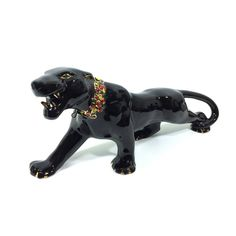 Large Vtg Leather Wrapped Black Panther Or Black Leopard