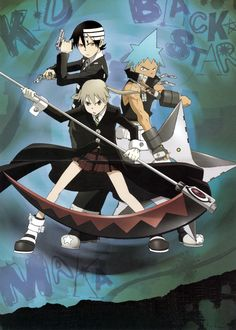Soul Eater- Maka and Soul (Front) Death the Kid, Liz, and Patty (Left) Black Star and Tsubaki (Right)