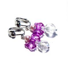 Kinderohrclips mit lila Schleifchen
