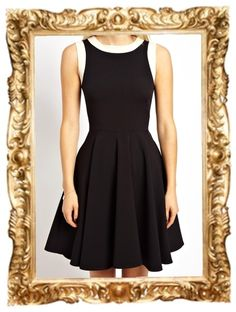Fit and Flare Skater Dress with Contrast Trims - $70