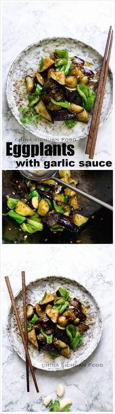 Eggplants with garlic sauce, possible is the yummiest eggplant dish.
