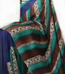 Buy Sea Green -  Brown -  Blue Acid Print silk saree hand-woven-saree online