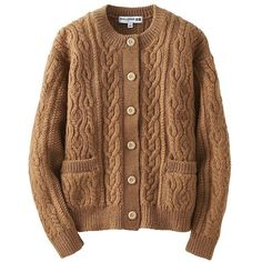 UNIQLO Ines Wool Blend Cable Crew Neck Cardigan (€46) ❤ liked on Polyvore featuring tops, cardigans, button cardigan, loose tops, button top, cable knit cardigan and j.crew cardigan