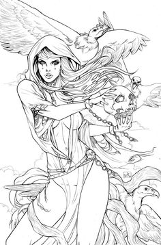 Grimm fairy tales is one adult coloring pages that I put together for relaxation and fun.Click this pin for more. Adult Coloring Book Pages, Colouring Pages, Coloring Books, Colorful Drawings, Colorful Pictures, Grimm Fairy Tales, Line Art, Art Sketches, Comic Art