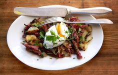 Winter Comfort Foods!! This meltingly tender corned beef hash is the perfect accompaniment for poached eggs.