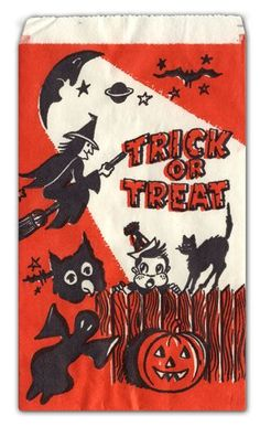 """I remember these paper treat bags! Vintage Halloween Candy Bag ~ """"Trick or Treat"""" w/ Witch, Ghost, Black Cat 1960s Halloween, Halloween Vintage, Vintage Holiday, Holidays Halloween, Happy Halloween, Halloween Night, Halloween Stuff, Halloween Candy Bags, Halloween Trick Or Treat"""