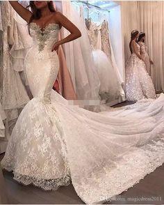 ccf4166865205 Luxury Plus Size Lace Mermaid Wedding Dresses Crystals Corset Back Chapel  Train 2017 Vintage Sweetheart Bridal Dress Sheer Wedding Gowns