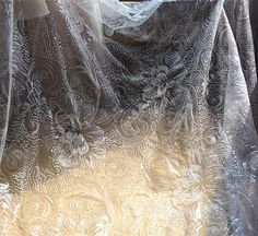 Lace Fabric Ivory Sequin Lace Fabric Beaded Lace by LaceNTrim