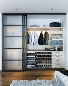 Modern Closet Design Ideas By Kay Wade, Closet Factory - Modern Man's closet with sliding doors. Example of a mid-sized minimalist men's reach-in closet - Curtain Wardrobe, Curtains For Closet Doors, Modern Closet Doors, Sliding Closet Doors, Glass Closet Doors, Sliding Door Design, Bedroom Closet Design, Bedroom Wardrobe, Closet Designs