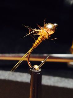Golden olive quill nymph #14 b170 finished with dimond fine flex resin from www.deercreek.co.uk