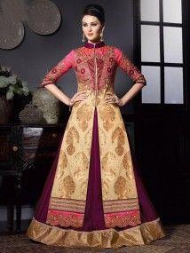Pink With Beige color Georgette Foil Embroidered Anarkali Salwar Kameez Suit Design