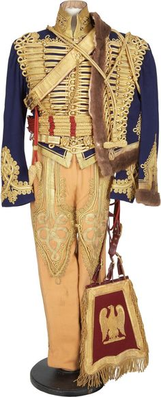 Detail on a replica of a British Hussar's uniform, nearly identical to the uniforms worn at the Battle of Waterloo in 1815.