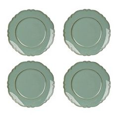 Savannah Turquoise Scalloped Chargers, Set of 4