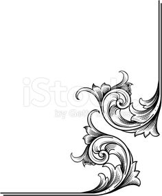 A true hand engraving scrollwork designed for page corners. Highly detailed with fine shading and can be easily modified with the enclosed EPS and Illustrator files. Leather Carving, Leather Tooling, Wood Carving, Gravure Metal, Jugendstil Design, Scroll Pattern, Carving Designs, Scroll Design, Leather Pattern