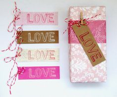 LOVE gift tags  pink and white 5pak by magdalenarose on Etsy, $3.00