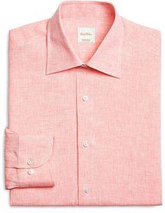 Solid Orange Linen Luxury Dress Shirt
