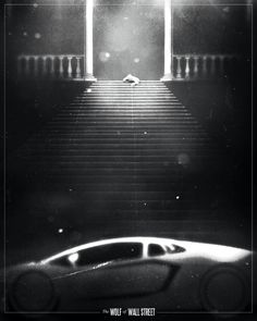 film noir style design of movie posters wolf of wall street