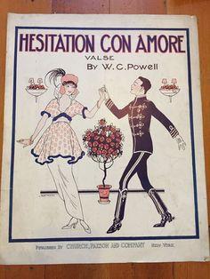Hesitation Con Amore SHEET MUSIC vintage fashion Edwardian Decor Dancing 1914 | eBay