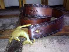 Brass Dolphin / Belt Buckle / Tooled Leather by Lauralous on Etsy, $20.99