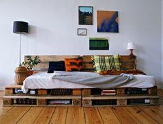 Sofa aus Paletten selber bauen zusätzlicher Stauraum