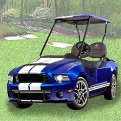 This 2013 Ford Mustang Shelby GT500 golf cart is certain to turn heads on the street as well as on the golf course. Yes, this electric golf cart is golf course approved!