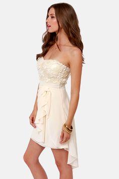 Sash-a-frass Strapless Cream Dress at LuLus.com!