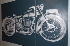 Vintage Ariel Square Four 1949  Motorcycle Screen Print Wood Painting Wall Art on Stained Solid BIRCH 3/4 inch thick