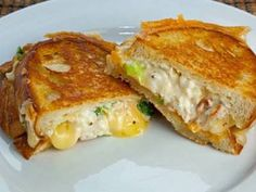 The lobster grilled cheese sandwich is pure decadence! With its perfectly crisp and golden brown crust and its warm an gooey, melted cheesy, lobster filled center. The recipe for the filling is like lobster salad and contains brie for melting really well.